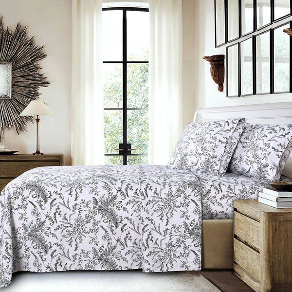 Winter Brush Print Ultra Soft and Supreme Quality Sheet Set in White with Black Flowers