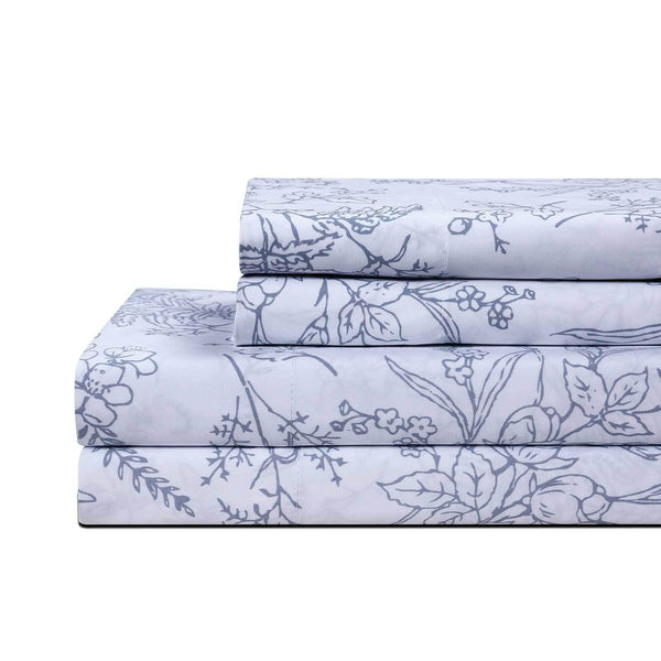 Winter Brush Print Ultra Soft and Supreme Quality Sheet Set in White with Blue Flowers