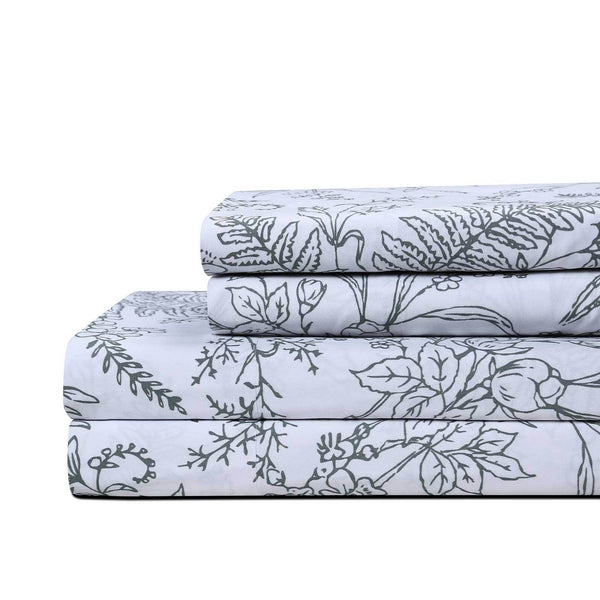 Winter Brush Print Ultra Soft and Supreme Quality Sheet Set in White with Teal Flowers