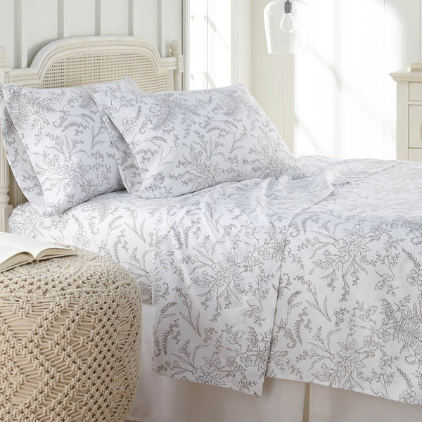 Winter Brush Print Ultra Soft and Supreme Quality Sheet Set in White with Steel Grey Flowers