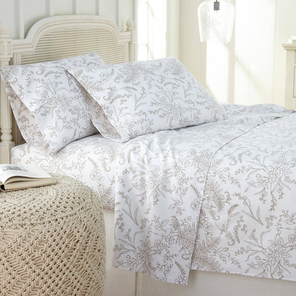 Winter Brush Print Ultra Soft and Supreme Quality Sheet Set in White with Warm Sand Flowers