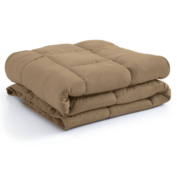 All-Season Classic Plush Down Alternative Comforters by Vilano Springs in Taupe