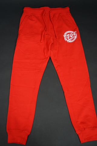 "Red ""Turning tables on everybody"" pants"