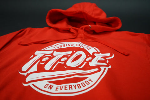 "Red ""Turning tables hoodie"""