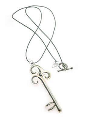 White Gold Key Necklace