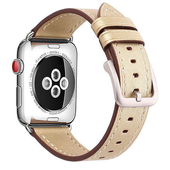 Mkeke Compatible for Apple Watch Band 42mm 44mm Genuine Leather Apple Watch Series 3 Series 2 Series 1 42mm 44mm Bands Gold