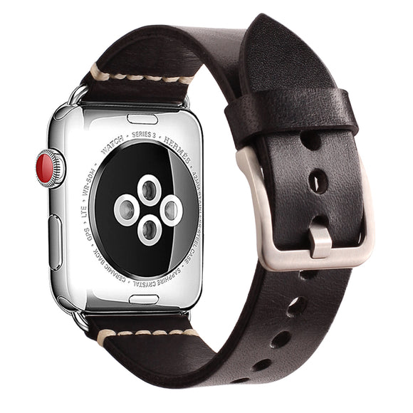 Mkeke Compatible with Apple Watch Band 42mm 44mm Mkeke Genuine Leather iWatch Bands Black