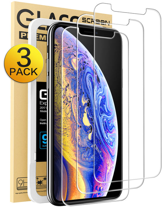 Mkeke Compatible iPhone Xs Max Screen Protector,Tempered Glass Film Apple iPhone Xs Max, 3-Pack