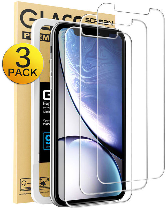 Mkeke Compatible iPhone XR Screen Protector,Tempered Glass Film Apple iPhone XR, 3-Pack