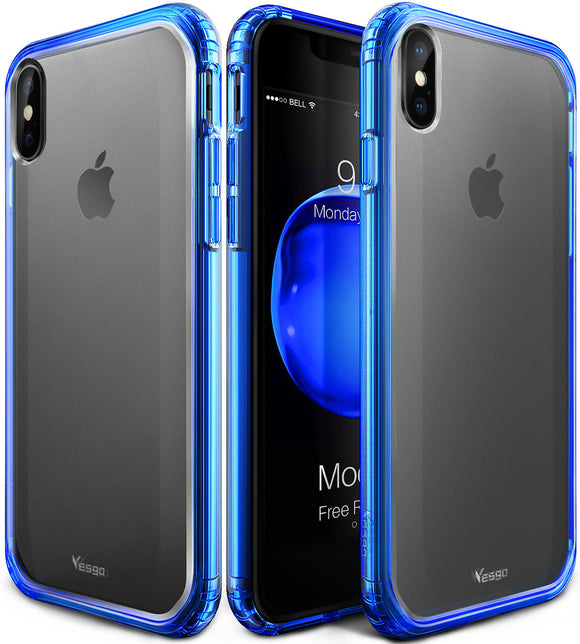 Mkeke Compatible for iPhone Xs Case,iPhone X Case,Clear Anti-Scratch Shock Absorption Cover Case for iPhone Xs/X-Matte Blue