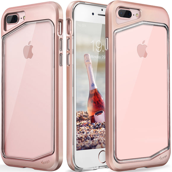 iPhone 8 plus Case, iPhone 7 plus Case, Clear Scratch Resistant Transparent Back Cover with TPU Rubber Shock Bumper for iPhone 8 plus & iPhone 7 plus Air Space Shockproof -Rose Gold