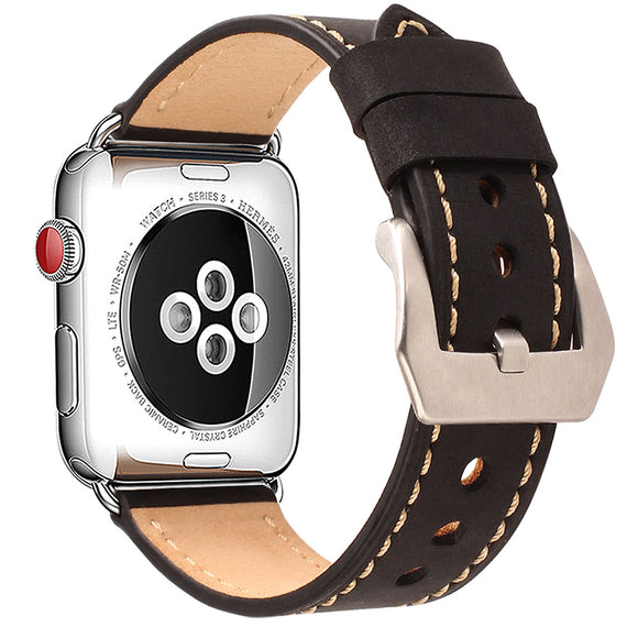 Compatible for Apple Watch Band 42mm 44mm Mkeke Genuine Leather iWatch Bands 42mm 44mm Black