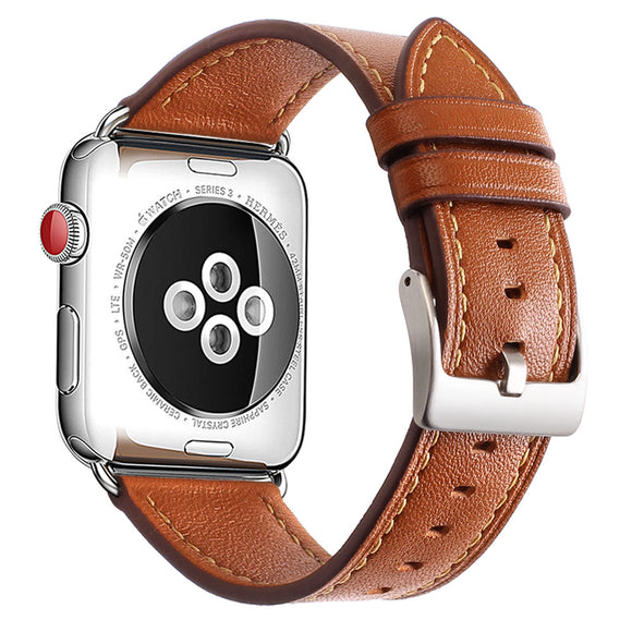 Mkeke Compatible with Apple Watch Band 42mm 44mm,Genuine Leather Apple Watch Series 4 Series 3 Series 2 Series 1 42mm 44mm Bands,Brown