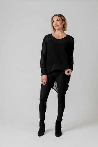 Moss Liliana Drape Top - Black