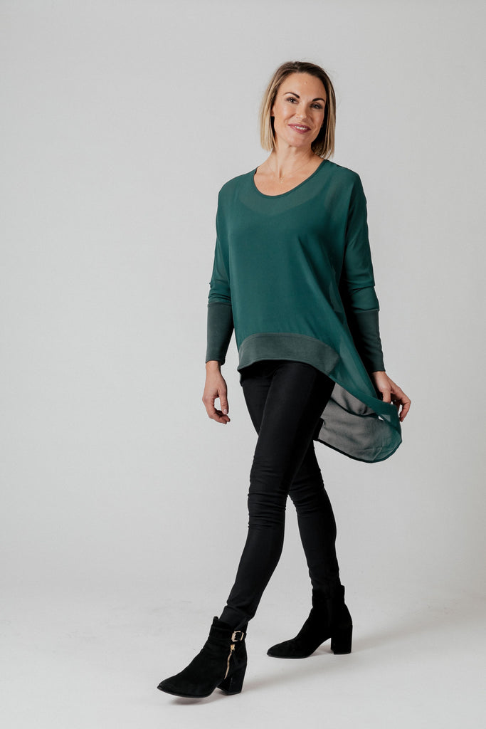 Moss Liliana Drape Top - Emerald