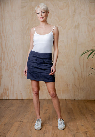 Moss Jules Skirt - Navy & Natural