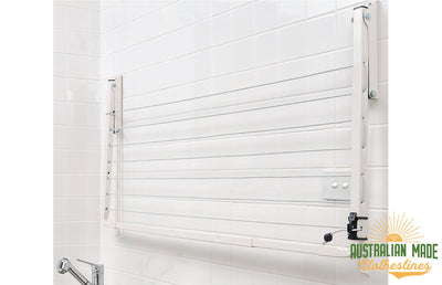 Austral Indoor Outdoor Clothesline - Wall Mounted Folded Down - Australian Made Clotheslines
