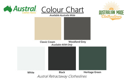Austral Retractaway 50 Clothesline - Colour Scheme - Australian Made Clotheslines