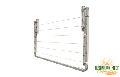 Eco 120 Clothesline - Surfmist Right Side Folded Down - Australian Made Clotheslines