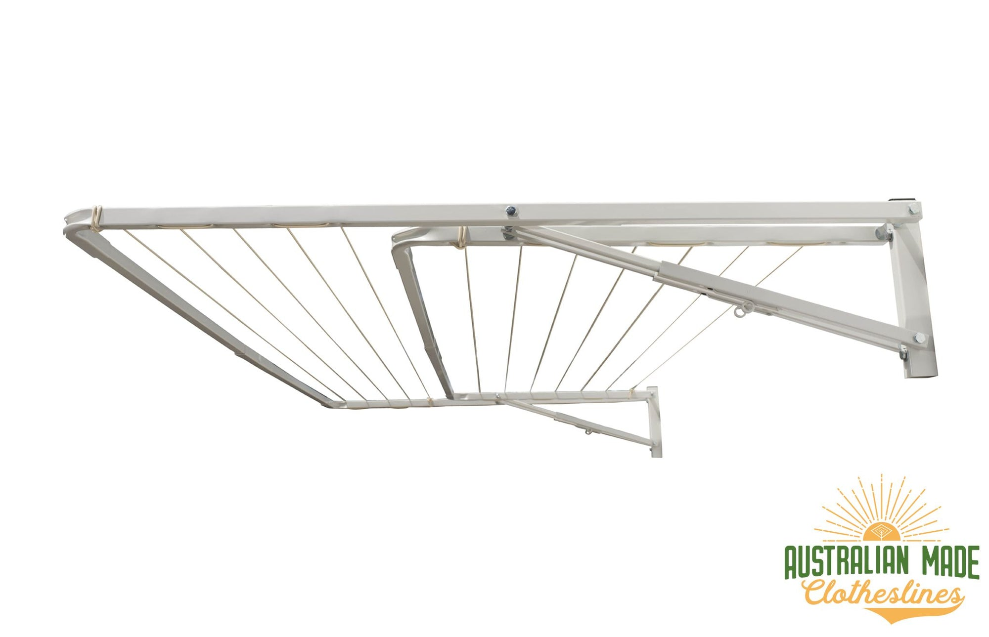Eco Dual Frame Clothesline - Classic Cream Right Perspective With Eco Lowline Attachment Folded - Australian Made Clotheslines