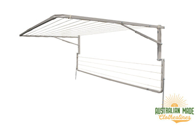 Eco 300 Clothesline - Surfmist Right Side View With Eco Lowline Attachment Folded Down - Australian Made Clotheslines