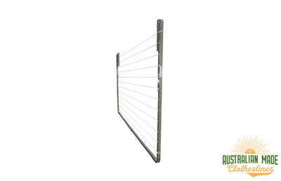 Eco 240 Stainless Steel Clothesline - Stainless Steel Right Side View Folded Down - Australian Made Clotheslines