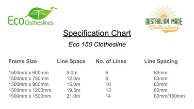 Eco 150 Clothesline - Specification Chart - Australian Made Clotheslines