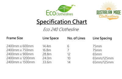 Eco 240 Stainless Steel Clothesline - Specification Chart - Australian Made Clotheslines