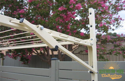 Austral Ground Mount Kit - Left Close Up View - Australian Made Clotheslines