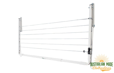 Austral Indoor Outdoor Clothesline - Right Perspective Folded Down - Australian Made Clotheslines