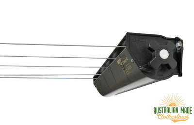 Austral Retractaway 40 Clothesline - Right Side View With Line Pulled Out - Australian Made Clotheslines