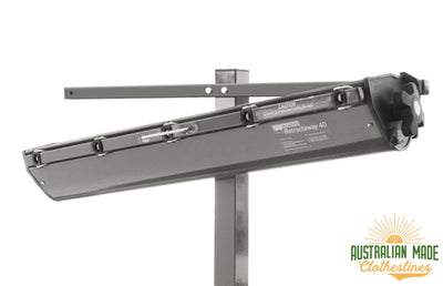 Austral Retractaway Mount Bar - Woodland Grey With Retractrable Clothesline Attached - Clotheslines Installation Australia