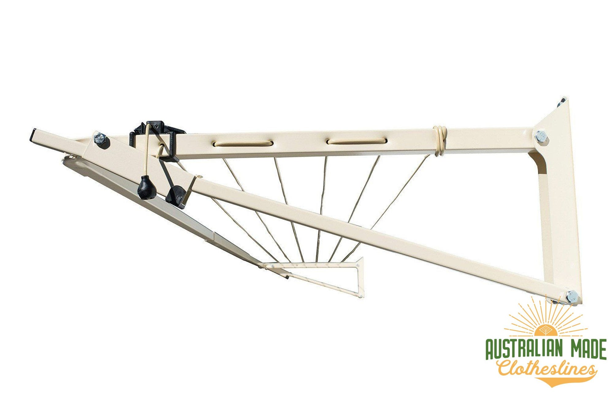 Austral Slenderline 20 Clothesline - Classic Cream Right Side View - Australian Made Clotheslines