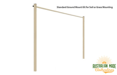 Austral Compact 28 Clothesline - Classic Cream Standard Ground Mount Kit for Soil or Grass Mounting - Australian Made Clotheslines