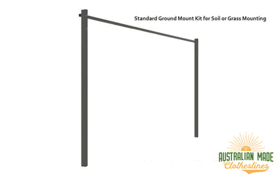 Austral Compact 28 Clothesline - Woodland Grey Standard Ground Mount Kit for Soil or Grass Mounting - Australian Made Clotheslines