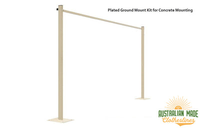 Austral Compact 28 Clothesline - Classic Cream Plated Ground Mount Kit for Concrete Mounting - Australian Made Clotheslines