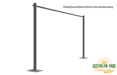 Austral Compact 28 Clothesline - Woodland Grey Plated Ground Mount Kit for Concrete Mounting - Australian Made Clotheslines