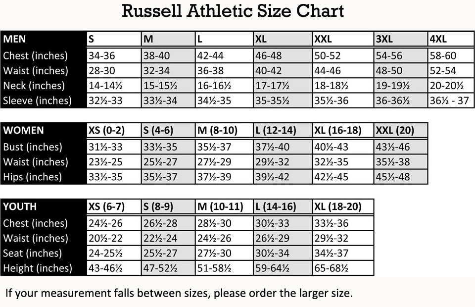 russell athletic mlb jersey size chart