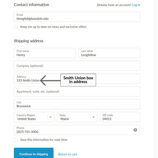 """Image showing shipping address for SU mailbox. The address line is filled out """"123 Smith Union"""" with no abbreviation."""