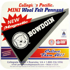 Black wedge-shaped pennant magnet with white mascot medallion and BOWDOIN imprint.