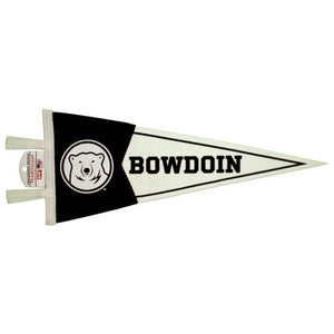 Black and white felt pennant with white ties. White polar bear mascot medallion on the black top, black BOWDOIN on the white bottom.