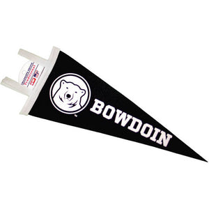 Small black felt pennant with white contrast felt ties along the short side of the triangle. The Bowdoin polar bear medallion is imprinted on the thick end of the wedge, with the word BOWDOIN printed to the right of the medallion toward the tapering end.