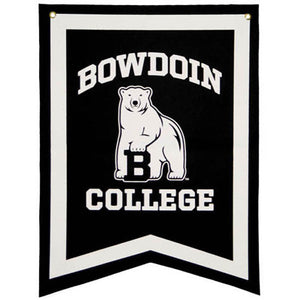 Black felt dovetail banner with white border and white imprint of BOWDOIN arched over the polar bear mascot over the word COLLEGE.