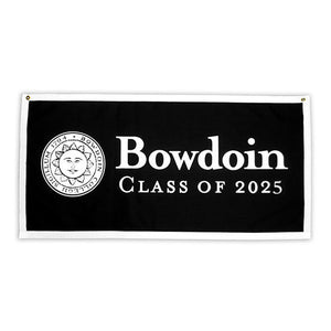Black banner with white border and white imprint of Bowdoin College sun seal on left, and beside it BOWDOIN over the words CLASS OF 2025.