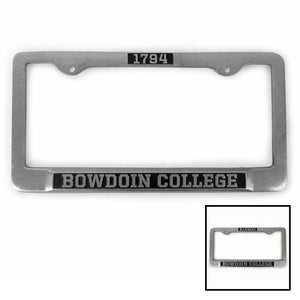 Montage of two Bowdoin College pewter license plate frames.