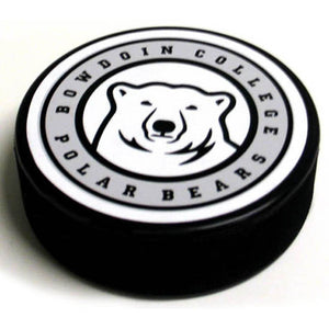 Hockey puck with polar bear medallion surrounded by BOWDOIN COLLEGE POLAR BEARS.