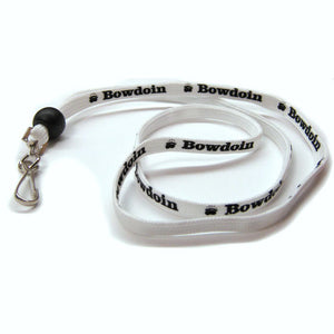 White shoelace style lanyard with silver J-hook and black cinch bead.