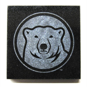 Square black granite coaster with etched mascot medallion.