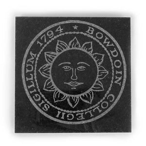 Square black granite coaster with etched Bowdoin College seal.