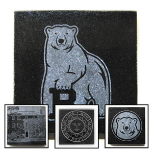 Montage of etched granite coasters.